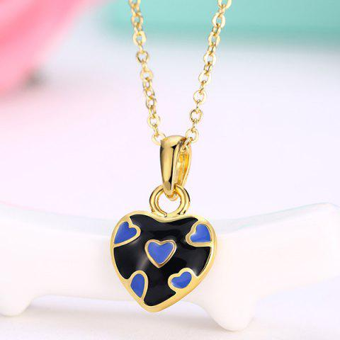 Pleting Heart Design Pendant Necklace - Black