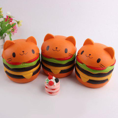 Affordable Decompression Cartoon Cat Hamburger Squishy Charms Toy - ORANGE  Mobile
