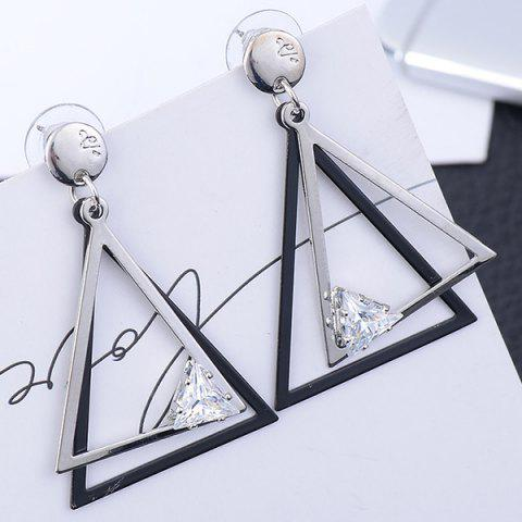 Affordable Rhinestone Hollow Out Geometric Earrings SILVER