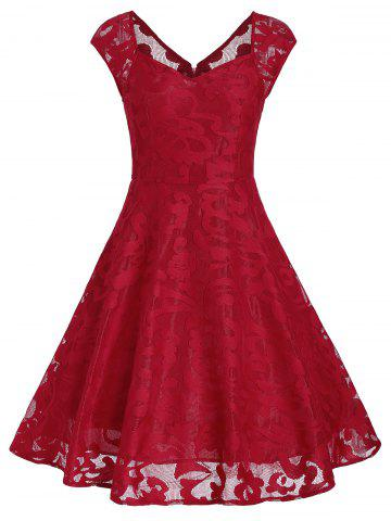 Vintage Sweetheart Neck Fit et Flare Dress Rouge S