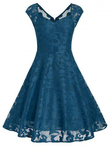 Vintage Sweetheart Neck Fit et Flare Dress Bleu canard L