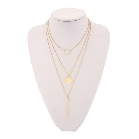 Three Layers Triangle Link Chain Necklace - Golden