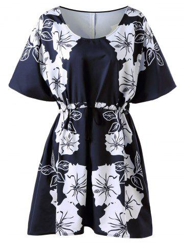 Outfits Floral Drawstring Plus Size Dress