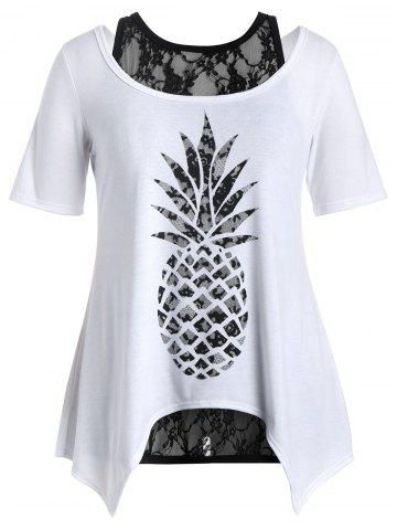 Plus Size Pineapple T-Shirt and Lace Tank Top - White - 2xl