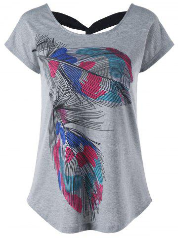 Outfits Back Twist Short Sleeve Feather Print Tee
