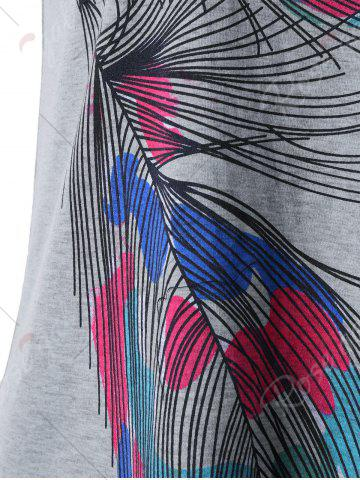 Outfits Back Twist Short Sleeve Feather Print Tee - XL GRAY Mobile