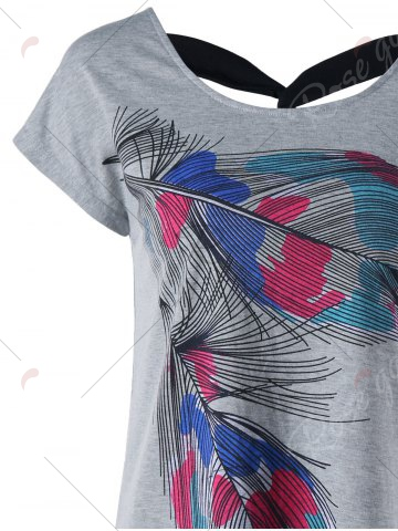 Cheap Back Twist Short Sleeve Feather Print Tee - XL GRAY Mobile