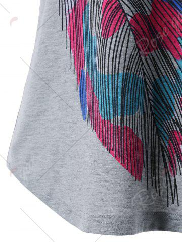 New Back Twist Short Sleeve Feather Print Tee - XL GRAY Mobile