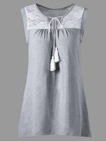 Fashion Sleeveless Sheer Lace Yoke Tunic Top GRAY XL