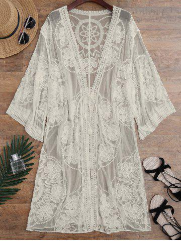 407370b46bb Embroidered Sheer Kimono Cover Up