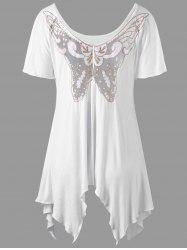 Butterfly Applique Asymmetrical Top