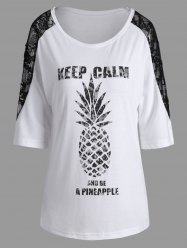 Lace Insert Keep Calm Pineapple Batwing T-Shirt