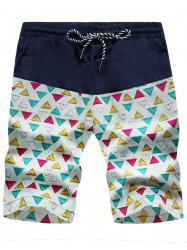 Colorful Geometric Print Drawstring Board Shorts