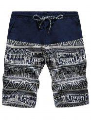 Tribal Geometric Print Drawstring Board Shorts - Bleu Marine + Blanc