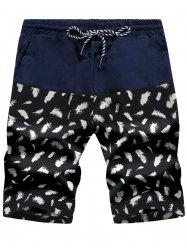 Feather Print Panel Drawstring Board Shorts - CADETBLUE + WHITE