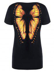 Butterfly Printed Short Sleeve Tee - ORANGE L
