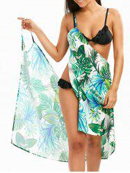 Hawaii Print Beach Cover Up Slip Dress - GREEN