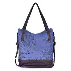 Canvas Panel Printed Shoulder Bag -