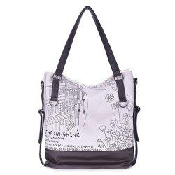 Canvas Panel Printed Shoulder Bag
