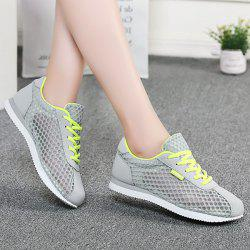 Breathable Mesh Suede Insert Athletic Shoes - GRAY