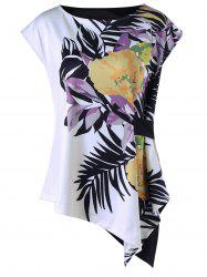 Tropical Leaf Cap Sleeve Asymmetric T-shirt - WHITE