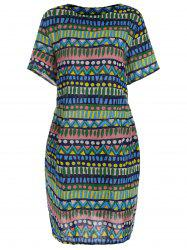Short Sleeve Plus Size Print Dress