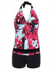 Leaf Print Halter Padded Plus Size Tankini Set
