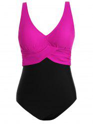 Two Tone Plus Size High Waisted One Piece Swimsuit