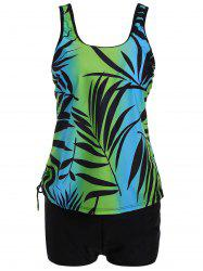 Plus Size Tropical Leaf Print Padded Tankini Set