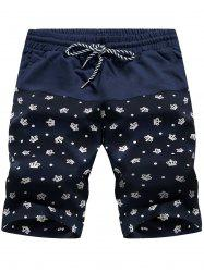 Crown Print Panel Drawstring Board Shorts - CROWN PATTERN