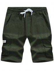 Graphic Appliques Pockets Drawstring Cargo Shorts
