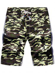 Color Block Panel Pockets Drawstring Camouflage Shorts
