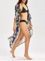 Floral Print Longline Chiffon Beach Cover Up - Minuit
