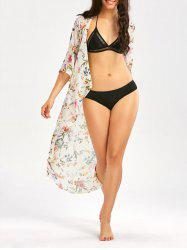 Floral Print Longline Chiffon Beach Cover Up - OFF-WHITE L