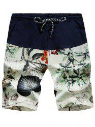 3D Leaves Print Drawstring Board Shorts - FLORAL WHITE