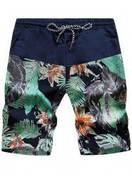 Leaves and Floral Print Drawstring Board Shorts - CADETBLUE/GREEN