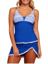 Striped Ruched Tankini Set - BLUE