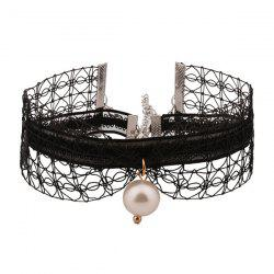 Faux Pearl Lace Layered Choker Necklace