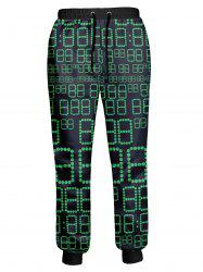 Dots Number Printed Drawstring Jogger Pants