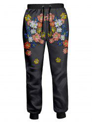 Colorful Flowers Printed Drawstring Joggers