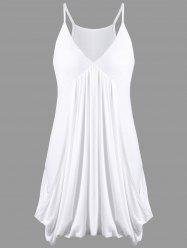 Empire Waist Drape Baggy Slip Dress - WHITE