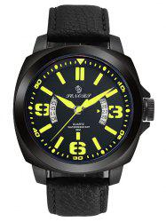 Faux Leather Strap Double Literal Calendar Quartz Watch - Jaune Et Noir