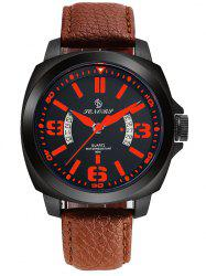 Faux Leather Strap Double Literal Calendar Quartz Watch -