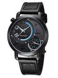Faux Leather Dual Quartz Watch - BLACK