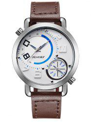 Faux Leather Dual Quartz Watch - WHITE AND BROWN