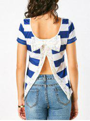 Lace Bowknot Slit Back Stripe T-Shirt - BLUE