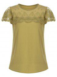 Mesh Insert Scalloped Blouse
