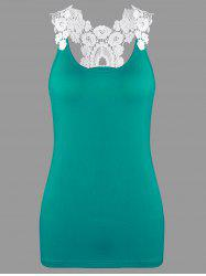 Slim Fit Racerback Crochet Trim Tank Top - LAKE GREEN