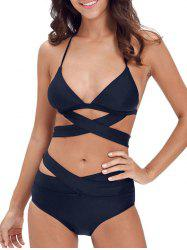 Cut Out Criss Criss Halter Bikini Set