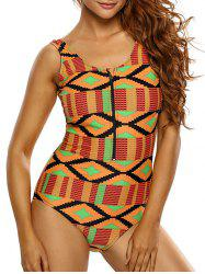 Zipper Half Backless Printed One Piece Swimsuit